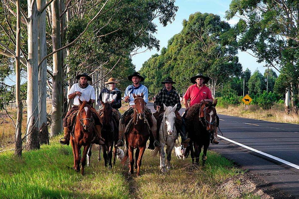 Parque Nacional da Lagoa do Peixe, RS, imagem de Gaúchos em roupas típicas montados a cavalo,Parque Nacional da Lagoa do Peixe.