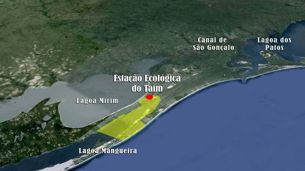 Mapa Estação Ecológica do TAIM, Rio Grande do Sul.