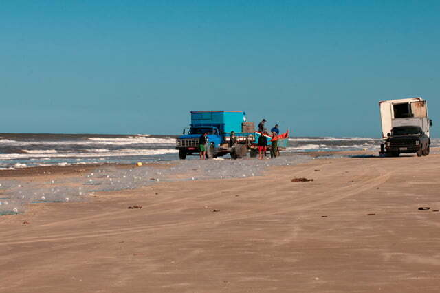 imagem de caminhão e pescadores com rede, praia do Cassino, RS
